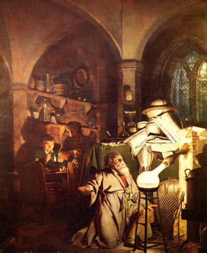 The Alchymist, in Search of the Philosopher's Stone, Discovers Phosporus, and prays for the successful Conclusion of his operation, as was the custom of the Ancient Chymical Astrologers (The Alchemist Discovering Phosporus) oleh Joseph Wright (1771) (courtesy: wikipedia)