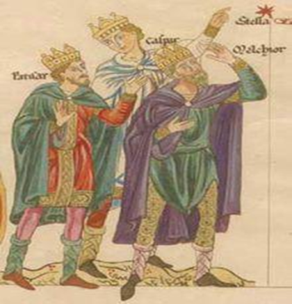 The Three Magi oleh Herarrd of Landsberg, dibuat ulang oleh Christian Maurice Engelhardt (courtesy: wikipedia)